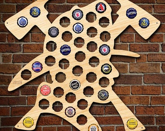 Brave Firefighter Beer Cap Map - Unique Beer Gifts for Him - Bottle Cap Holder Makes Awesome Sign! - Perfect for Firemen and Rescuers