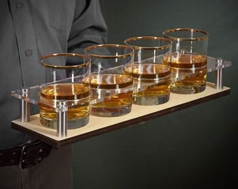 Gold-Rimmed Rocks Glasses and Custom Serving Tray - Great gifts for Father's Day