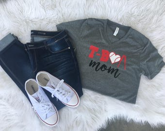 Tball Mom Shirt, Tee Ball Shirt, T-Ball Mom Shirt, Baseball Mom, Sports Mom Shirt, Womens V -Neck