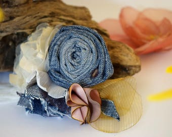 Handmade flowers denim brooch,boho style,vintage style,shabby chic ,romantic brooch