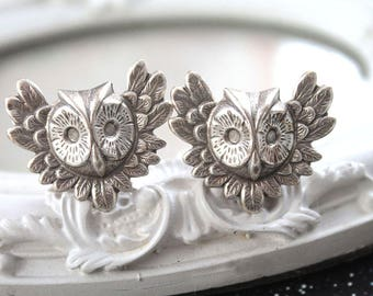 """Silver owl plugs gauges gauged ears 15mm 9/16"""" 5/8"""" stretched ears tunnels"""