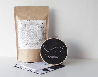 Scorpio Embroidery Pack With Easy to Follow How To & Material Design Cross Stitch Astrology Art Zodiac Set Hand Stitched Gift Star Sign