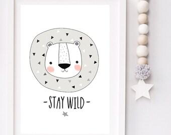 Stay Wild Modern Monochrome Lion Nursery typography print