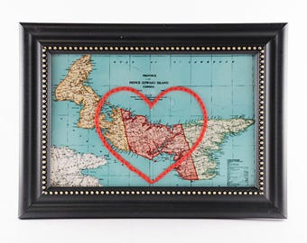 Prince Edward Island Hand Embroidered Heart Map, PEI Map, Paper, Cotton Anniversary, Mother's Day Gift, Travel, PEI Art, Engagement, Love