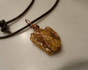 Amber Wire Wrapped Necklace