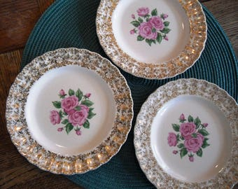 Vintage Mid-Century Sebring Pottery Co. China Bouquet Salad Plate with pink roses and 22K gold trim