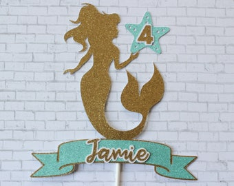 Glitter Mermaid Cake Topper Personalized Name - Birthday Cake Topper or Centerpiece