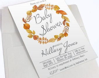 Printable Fall Baby Shower Invitation | Autumn Leaves | Fall Baby Shower | Printable Invitation