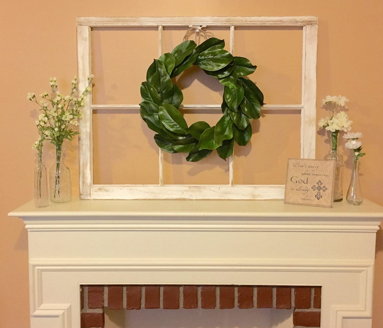 Old Window Frame Magnolia Wreath Farmhouse Decor Fixer