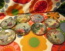 """8 Piece Set Vintage 1989 -  1991 China Plates 6.5"""" Hummingbird Series Cyndi Nelson Pickard China"""