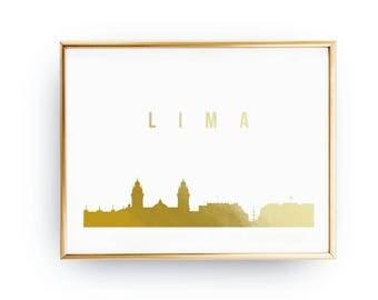 Lima Cityscape, Lima Print, Gold Skyline Art, Lima Poster, Lima Skyline, Real Gold Foil Print, Home Decor, Peru Cityscape, Peru Print, 8x10
