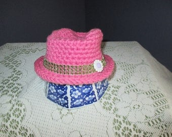 Pink, infant, newborn, Fedora hat with just a little bling! Photo prop