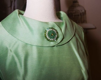 EVERYTHING ON SALE Vintage Light Green with Pearl and Dark Green Beaded Detailed Dress