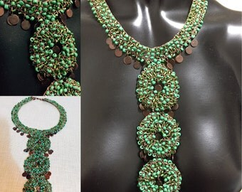 Wire crochet necklace, green necklace,  Wire knit,coins ,glass beads,handmade,