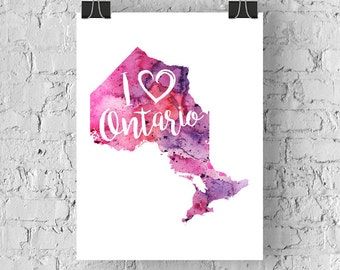 I Heart Ontario Map Art Print, I Love Ontario Watercolour Home Decor Map Painting, ON Giclee Canada Art, Housewarming or Moving Gift, Drawn