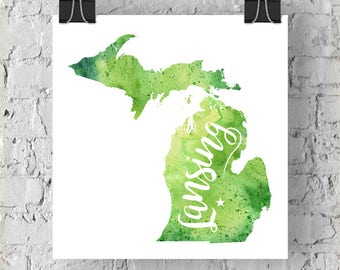 Custom Michigan Map Art, Michigan Watercolor Heart Map Home Decor, Lansing or Your City Hand Lettering, Personalized Giclee Print, 5 Colors