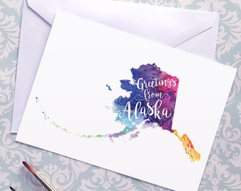 Alaska Watercolor Map Greeting Card, Greetings from Alaska Hand Lettered Text, Gift or Postcard, Giclée Print, Choose from 5 Colors