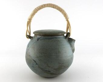 Ceramic teapot, blue teapot with wicker handle, handmade teapot, pottery teapot  (No. N-te-11)