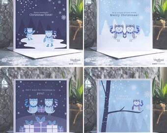 Owl Christmas Card Pack, 4 pack of bespoke christmas owl cards, woodland card christmas pack