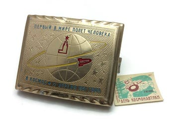 Vintage Soviet Aluminium Cigarette Case world's first flight man space 1961 Space rocket Vostok USSR + BONUS Space Match label Gift for him