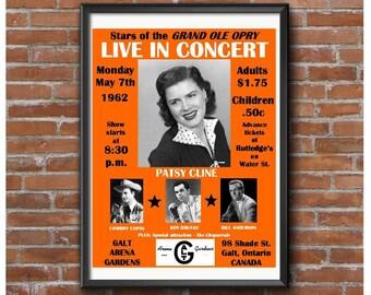 Patsy Cline Concert Poster-Cowboy Copas Roy Drusky Bill Anderson-Galt Canada