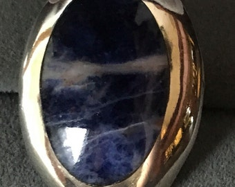 Vintage Sterling Silver Sodalite Ring Blue Taxco Mexico Mexican Oval Shape Inlay Size 7