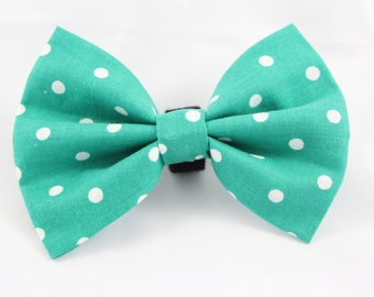 Dog Bowtie - Teal and White Polka Dots- Dog Bow Tie