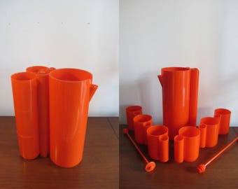 "JEAN PIERRE VITRAC - Service ""orangeade"" - One pitcher, six tumblers and two mixers - Made in the 1970s"