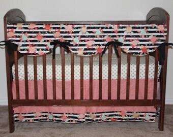 floral crib bedding bumperless bedding rail cover crib sheet crib skirt
