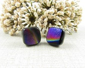 Reserved *** Custom Order for Ryan ***     Fused Glass - Matte Finish Square Fused Glass Earrings with Sterling Silver Posts