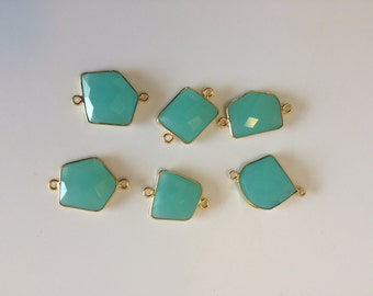 Gold Plated Aqua Chalcedony Connectors- gemstone connectors, gemstone jewelry
