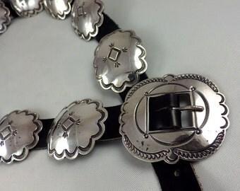 Vintage Navajo Indian Silver Concha Belt on Leather
