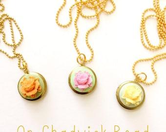 Spring Roses Locket Necklace