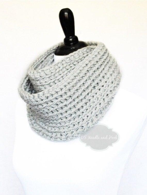 Gray Crochet Infinity Scarf, Plush Cowl, Chunky Neck Warmer - Light Dove Gray, Pearl Gray