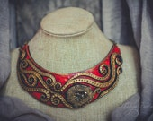 Statement necklace Bib necklace orange red gold necklace toned druse Agate necklace polymer clay necklace Large necklace massive necklace