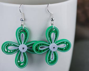 Green  quilled earrings/ Green & silver earrings/ Silver earrings/ Quilling earrings/ Paper jewelry/ Paper quilling jewelry/  Dangle earring