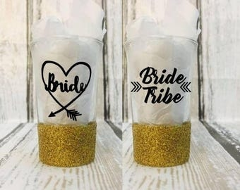 Bride & Bride Tribe Glittered Shot Glasses - Custom Shot Glasses - Bachelorette Party Shot Glasses