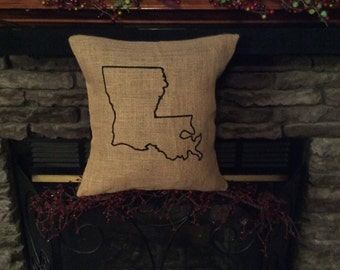 State Burlap Pillow, Burlap Pillow, Rustic Pillow, Throw Pillow, Outdoor Pillow, State Outline Pillow, Louisiana State Pillow