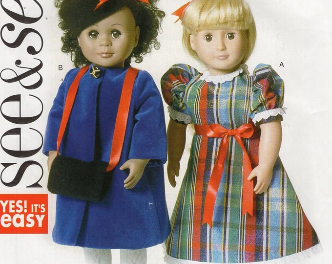 """Butterick 6122 Free Us Ship Out of Print  18"""" Doll Clothes Dress Coat Fur Muff Hat New Sewing Pattern Fits American Girl"""