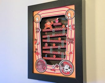"Donkey Kong Arcade Shadow Box 3D 5""x7"""