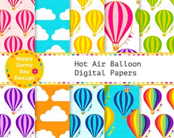 40% off Hot Air Balloon / Hot Air Balloon Digital Papers - Instant Download - D003