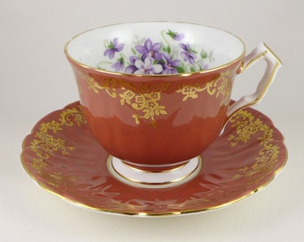 Aynsley Tea Cup And Saucer, Rust Pattern 2917 With Filigree Gold Trim And Violets