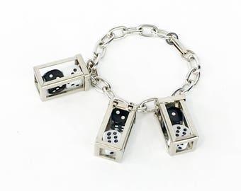 1960s Charm Bracelet | Dice in Cage Bracelet | Novelty Bracelet