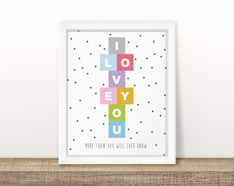 Hopscotch - I Love You - Rainbow Nursery Print - Children's Wall Art - Baby Decor - Polkadot