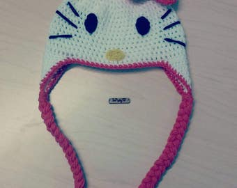 Crocheted Hello Kitty inspired Beanie! Sizing for Teen/Adult! FREE SHIPPING!