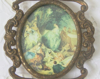 Vintage Small Hanging Photo Frame with Bulb Glass, Italian Bronze Metal Frame, Fragonard Print