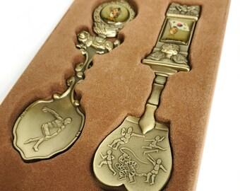 Vintage Olympic Souvenir Spoons 1988 Seoul South Korea Gold Brass Bronze Tone Olympiad Commemorative Collectible Memorabilia Sports