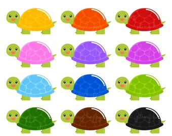 70% OFF Turtle With Colorful Shell Cliparts, Turtle With Colorful Shell Clipart Graphics, Personal & Small Commercial Use, Instant Download