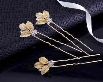 Crystal Hair Pins Gold Hair Pins Bridal Hair Pins Gold Bridal Comb Wedding Hair Pins Rhinestone Hair Pins Bridesmaids Hair Pin Vintage Pin