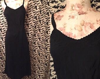 Vintage 1950s Black Rayon Slip Corette Rayon Slip Lingerie Bur-Mil Quality Lingerie Retro Burlesque Pin Up
